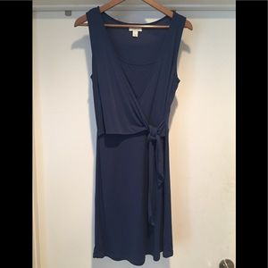 LOFT  Semi Wrap Blue Frontal Tie Dress